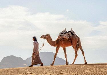 JOR1180AW Bedouin walking with his camel, Wadi Rum, Aqaba Governorate, Jordan (MR)