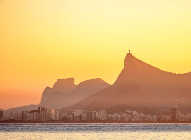 BRA3723AW View towards Corcovado Mountain and Pedra da Gavea at sunset, seen from Niteroi, State of Rio de Janeiro, Brazil