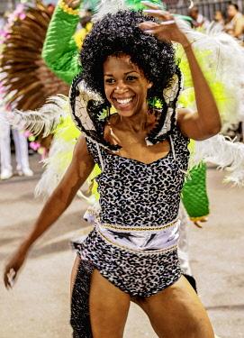 BRA3739AW Samba Dancer at the Carnival Parade in Rio de Janeiro, Brazil