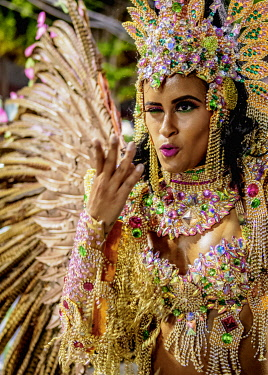 BRA3740AW Samba Dancer at the Carnival Parade in Rio de Janeiro, Brazil
