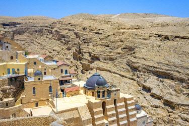 ISR0577AWRF Palestine, West Bank, Bethlehem Governorate, Al-Ubeidiya. Mar Saba monastery, built into the cliffs of the Kidron Valley in the Judean Desert.