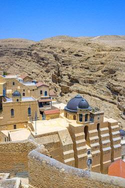 ISR0578AWRF Palestine, West Bank, Bethlehem Governorate, Al-Ubeidiya. Mar Saba monastery, built into the cliffs of the Kidron Valley in the Judean Desert.