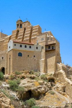 ISR0579AWRF Palestine, West Bank, Bethlehem Governorate, Al-Ubeidiya. Mar Saba monastery, built into the cliffs of the Kidron Valley in the Judean Desert.