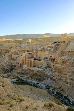 ISR0586AWRF Palestine, West Bank, Bethlehem Governorate, Al-Ubeidiya. Mar Saba monastery, built into the cliffs of the Kidron Valley in the Judean Desert.