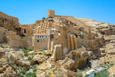 ISR0670AW Palestine, West Bank, Bethlehem Governorate, Al-Ubeidiya. Mar Saba monastery, built into the cliffs of the Kidron Valley in the Judean Desert.