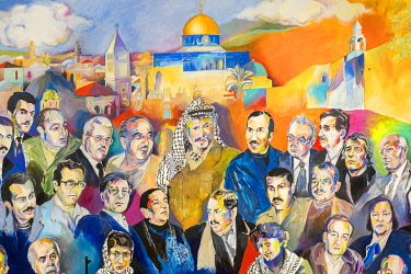 Palestine, West Bank, Ramallah and al-Bireh, Ramallah. A painting depicting prominent Palestanians at the Yasser Arafar Museum.