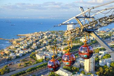 ISR0752AW Israel, Haifa District, Haifa. Mount Carmel cable-car at the Stella Maris Observation station.