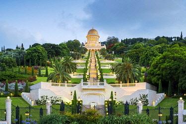 ISR0753AW Israel, Haifa District, Haifa. Shrine of the Bab and lower terraces of the Baha'i Gardens at dusk.