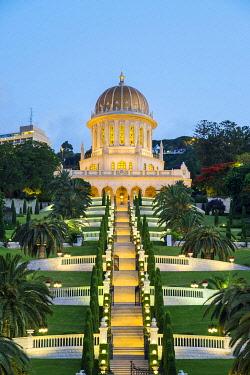 ISR0754AW Israel, Haifa District, Haifa. Shrine of the Bab and lower terraces of the Baha'i Gardens at dusk.