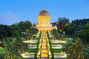 ISR0755AW Israel, Haifa District, Haifa. Shrine of the Bab and lower terraces of the Baha'i Gardens at night.