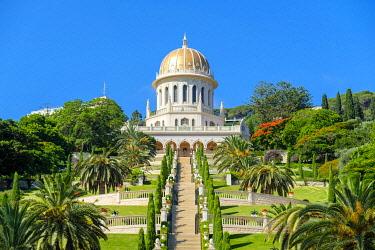 ISR0761AW Israel, Haifa District, Haifa. Shrine of the Bab and lower terraces of the Baha'i Gardens.