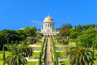 ISR0762AW Israel, Haifa District, Haifa. Shrine of the Bab and lower terraces of the Baha'i Gardens.
