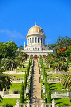 ISR0763AW Israel, Haifa District, Haifa. Shrine of the Bab and lower terraces of the Baha'i Gardens.