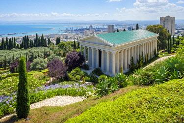 ISR0773AW Israel, Haifa District, Haifa. The International Baha'i Archives building at Baha'i Gardens.