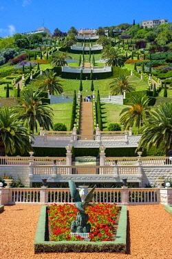 ISR0779AW Israel, Haifa District, Haifa. Upper terraces of the Baha'i Gardens.