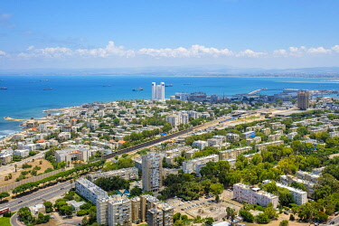 ISR0785AW Israel, Haifa District, Haifa. High-angle view of downtown Haifa from Mount Carmel.