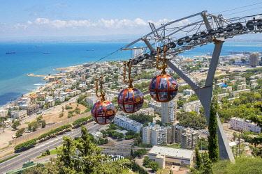 ISR0786AW Israel, Haifa District, Haifa. Mount Carmel cable-car at the Stella Maris Observation station.