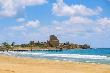 ISR0787AW Israel, Haifa District, Atlit. Ruins of Chateau Pelegrin Fortress on the Mediterranean coast on Atlit Beach.