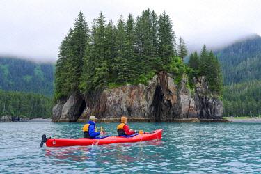 USA14071 USA, Alaska, Kenai Fjords National Park, Kayaking past an island in Verdant Cove, Aialik Bay.