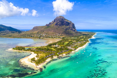 CLKAC103292 Aerial view of Le Morne Brabant peninsula. Le Morne, Black River (Riviere Noire), West coast, Mauritius