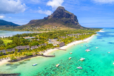 CLKAC103299 Aerial view of the beach of the Beachcomber Paradis Hotel, Le Morne Brabant Peninsula, Black River (Riviere Noire), Mauritius (PR)