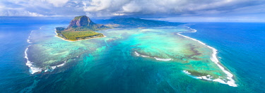 CLKAC103303 Aerial view of Le Morne Brabant peninsula and the Underwater Waterfall. Le Morne, Black River (Riviere Noir), West coast, Mauritius, Africa