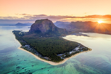 CLKAC103305 Aerial view of Le Morne Brabant peninsula during the sunrise. Le Morne, Black River (Riviere Noire), West coast, Mauritius
