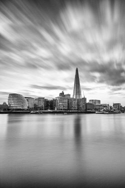 ENG16117AW The Shard and City Hall reflected in the Thames, London, England, United Kingdom