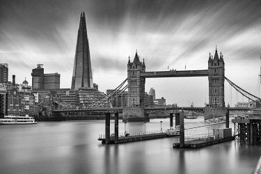 ENG16123AW Tower Bridge, the Shard and boat docks, London, England, United Kingdom