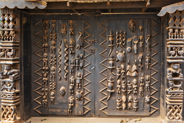 BNN0192 Benin, Porto Novo.  A fine carved door of the Ethnographic Museum in Porto Novo, the capital of Benin.