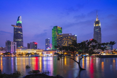 VIT1522AW Asia, Southeast Asia, Vietnam, Southern Vietnam, Ho Chi Minh City, the illuminated skyline of the city reflected in the Saigon river