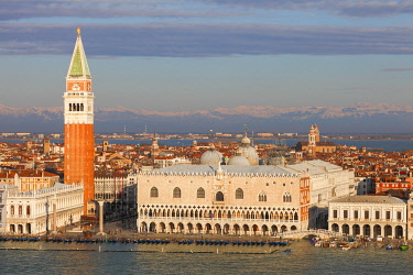 ITA13721AWRF Piazza San Marco with snowy Alps; Venice; Veneto; Italy