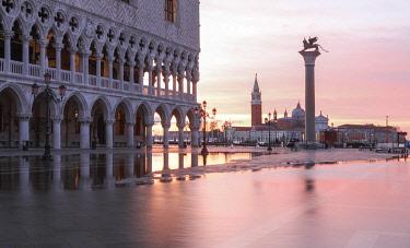 ITA13727AWRF Acqua Alta in St Marks square at sunrise, Venice; Veneto; Italy;
