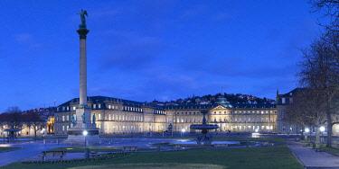 GER11654AW Schlossplatz (Castle Square ) and Neues Schloss (New Castle) at dusk, Stuttgart, Baden-Württemberg, Germany