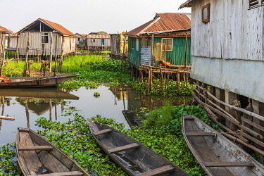 BNN0314AW Africa, Benin, Lake Nokoué. A view in the   channels of the famous stilt village of Ganvie