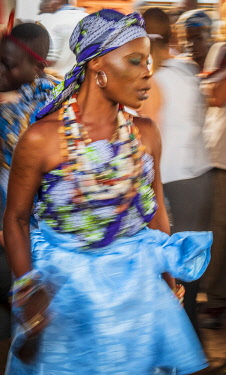 BNN0323AW Africa, Benin, Ouidah. Woman celebrating the Vodoun festival