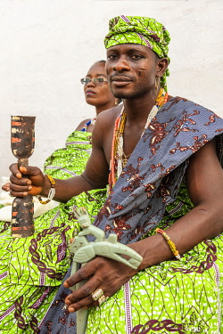 BNN0326AW Africa, Benin, Ouidah. Beautifully made up adepts for the Vodoun festival