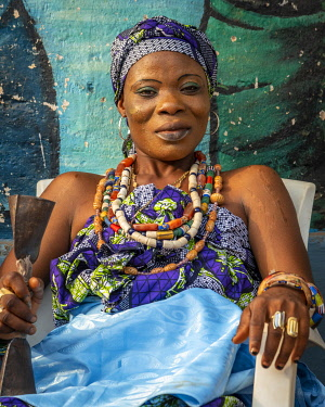 BNN0328AW Africa, Benin, Ouidah. Beautifully made up adept at the Vodoun festival