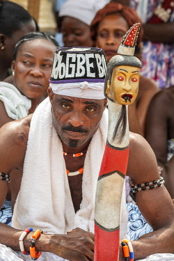 BNN0335AW Africa, Benin, Ouidah. Portrait of a particpant of the Vodoun festival
