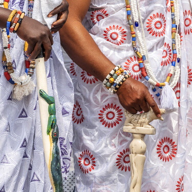 BNN0346AW Africa, Benin, Ouidah. A culture group of white  woman during the Vodoun festival