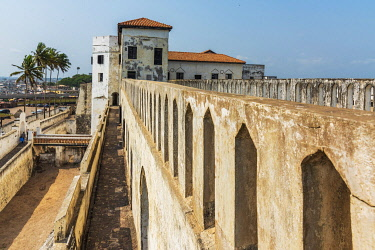 GHA0160AW Africa, Ghana, Elmina Castle was erected by the Portuguese in 1482 as São Jorge da Mina Castle, also known simply as Mina in present-day Elmina, Ghana. It was the first trading post built on the Gulf...