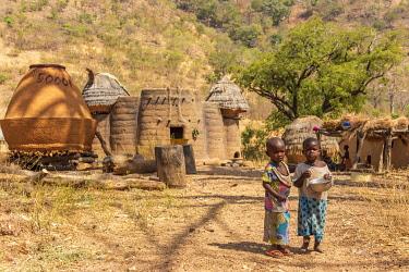 TOG0029AW Africa, Togo. Koutammakou, Tamberma people. Unesco World Heritage site.