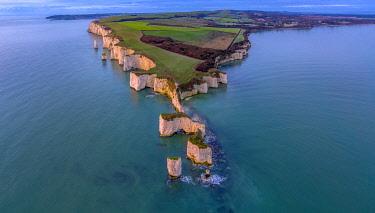 UK08467 UK, England, Dorset, Isle of Purbeck, Swanage, Jurassic Coast, The Foreland or Handfast Point, Old Harry Rocks