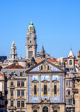 POR10324AWRF View towards Santo Antonio dos Congregados Church and City Hall Tower, Porto, Portugal