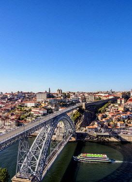 POR10363AW Dom Luis I Bridge, elevated view, Porto, Portugal