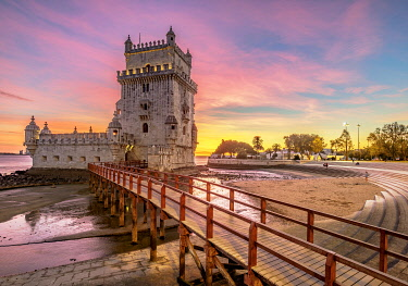 POR10396AW Belem Tower at sunset, Lisbon, Portugal