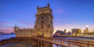 Belem Tower at dusk, Lisbon, Portugal