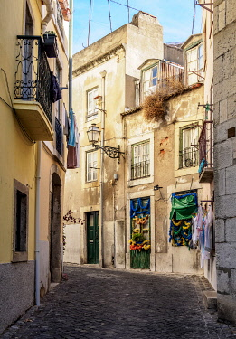 POR10432AW Narrow Lane of Alfama, Lisbon, Portugal
