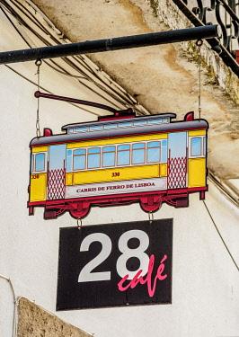 POR10434AW 28 Cafe Sign, Alfama, Lisbon, Portugal