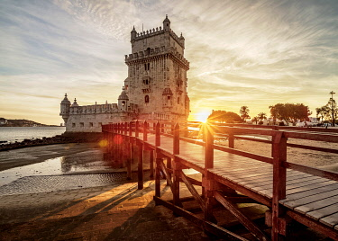 POR10445AW Belem Tower at sunset, Lisbon, Portugal